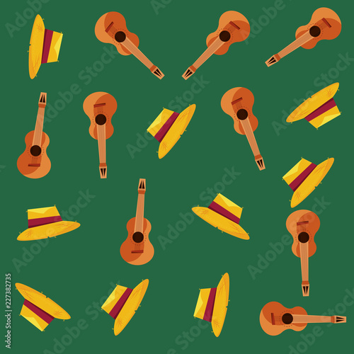 straw hat and guitar instrument background © djvstock
