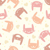 Pastel seamless pattern with cute bunny