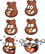 Squirrel head with different expressions.  Vector clip art illustration with simple gradients. Each on a separate layer.