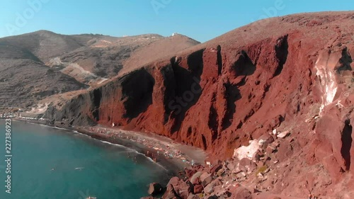 This is a drone shot of the famous red beach in Santorini!