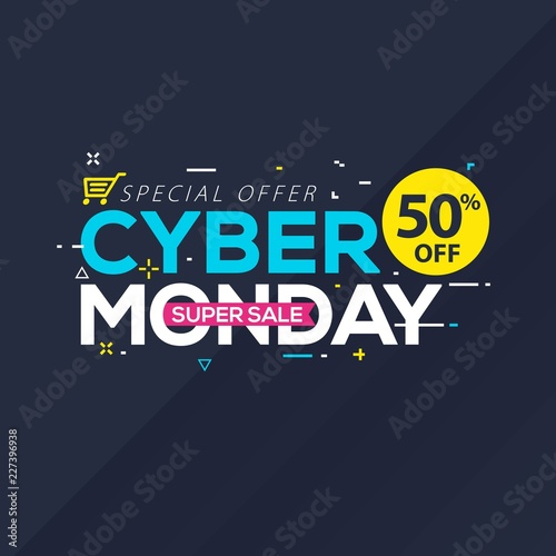 Cyber Monday Sale banner with trendy geometric background