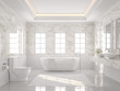 Leinwandbild Motiv Luxury white bathroom 3d render. There are white tile floor and marble wall.The room has more windows. Sunlight shining into the room
