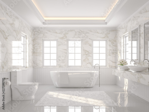 Leinwanddruck Bild Luxury white bathroom 3d render. There are white tile floor and marble wall.The room has more windows. Sunlight shining into the room