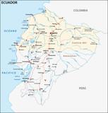 The republic of Ecuador road vector map
