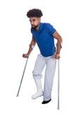 Man With Broken Leg Using Crutches
