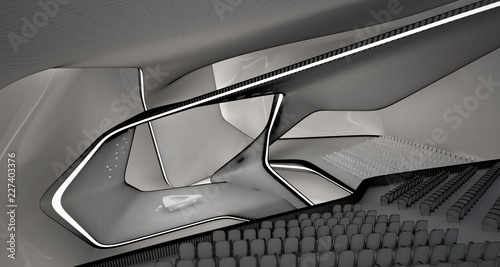 Conceptual abstract design of the interior of the concert hall and grand piano in a modern style. 3D illustration and rendering. © SERGEYMANSUROV