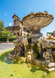Rome (Italy) - The esoteric quarter of Rome, called 'Quartiere Coppedè', designed by architect Gino Coppedè consisting of eighteen palaces and twenty-seven buildings rich in symbologies - 227405561