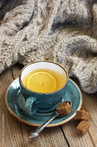 Leinwandbild Motiv Still life with tea and knitwear