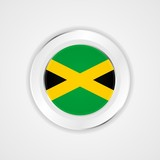 Jamaica flag in glossy vector icon.
