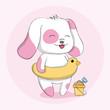 Cute dog with swim animal character cartoon hand drawn. - 227422966