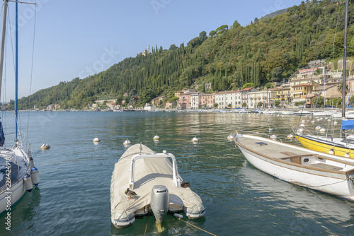 duck on boat and Garda shore, Toscolano-Maderno, Italy
