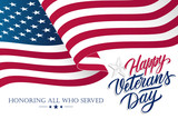 United States Veterans Day celebrate banner with waving american national flag and hand lettering text Happy Veterans Day. Vector illustration. - 227425159