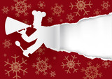 Chef Christmas menu,torn paper background. Paper silhouette of cook with megaphone ripping red paper christmas background.Place for your text or image. Vector available.  - 227427525