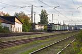 freight train passes through the marshalling yard