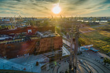 Gdansk aerial view, city panorama in the morning with Europejskie Centrum Solidarnosci