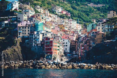 Scenic view of colorful village Riomaggiore.