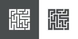 Icono plano laberinto en gris y blanco - 227442787