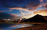 Scenic sunset at Lake Myvatn in Northern Iceland - 227443342
