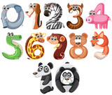 Set of cute animals number - 227445389