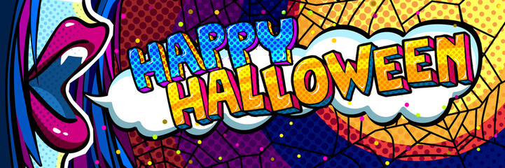 Halloween illustration. Open blue mouth with fangs and Happy Halloween Message in pop art style.