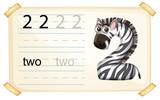 Zebra number two worksheet - 227449514