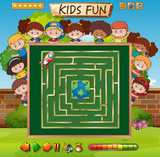 Maze game on chalkboard game template - 227449534