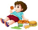 Fat boy eating junkfood - 227449923
