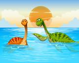 Dinosaur swimming in the ocean - 227449980