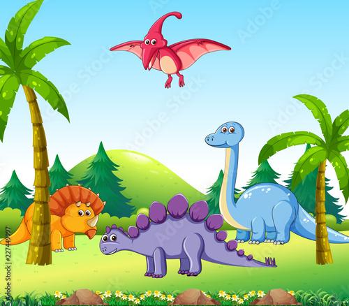 Różny dinosaur w naturze