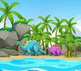 Dinosaur next to the beach - 227450133