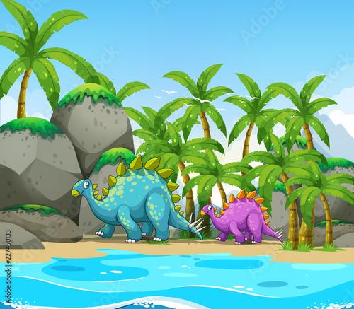 Dinozaur obok plaży