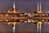 Breslau als Spiegelung in der Oder