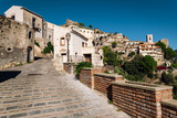 The view of street in Savoca village in Sicily, Italy.
