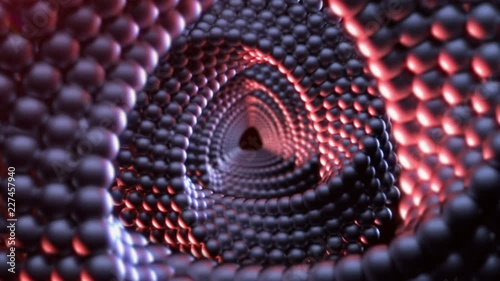 Hypnotizing 3D animation of triangular Mobius spirals with surface made of spheres rotating and creating tunnel