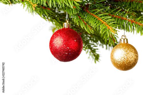Decorative balls on fir - 227465742