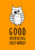 Card with funny owl and hand written quote