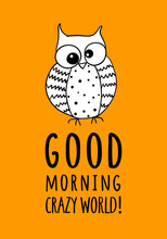 Card  Funny Owl And Hand Written Quote Sticker