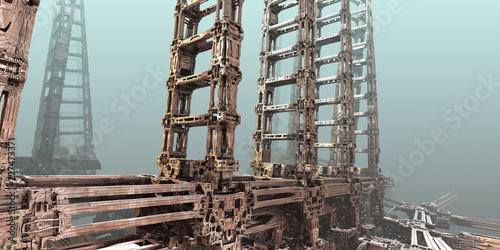Absract construction. 3D fractal art. - 227473371