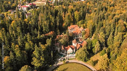 Fridge magnet Aerial view of beautiful landscape of Carpathian Mountains in Sinaia near the Peles castle. Transylvania - Romania
