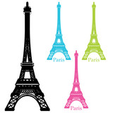 Eiffel Tower Statue Silhouette Set