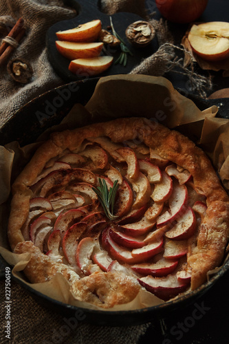 Sticker Apple pie. Beautiful decor. Christmas traditional cinnamon cake. Homemade baking.