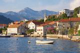 Picturesque Mediterranean landscape with small seaside village. Montenegro, Adriatic Sea, Bay of Kotor, Lepetane village