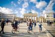 Leinwanddruck Bild - City tour by bike
