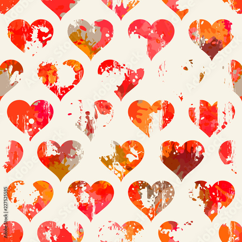 Bezszwowy wzór z sercami. Walentynki. Może być stosowany na papierze do pakowania, tkaninach, tle dla różnych obrazów itp