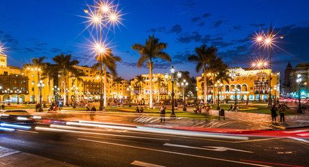 LIMA PERU: Panoramic view of Lima main square at blue time.