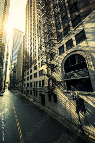 Chicago street sunrise
