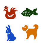 Collection of colored vector animals