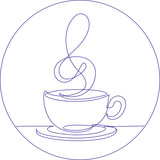 Coffee cup continuous linel treble clef vector illustration