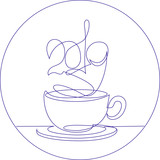 Coffee cup continuous line new Year vector illustration