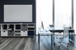 Leinwanddruck Bild - Dark gray loft ceo office interior, poster